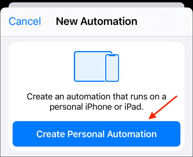 Toca Crear automatización personal