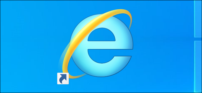 Acceso directo a Internet Explorer en un escritorio de Windows 10.