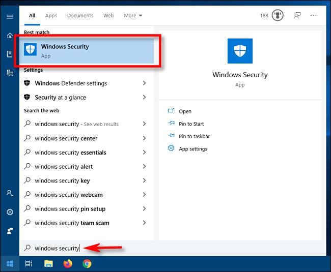 Inicie Seguridad de Windows desde el menú Inicio en Windows 10