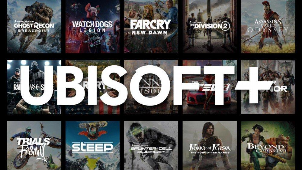 Logotipo de Ubisoft Plus con un puñado de juegos detrás